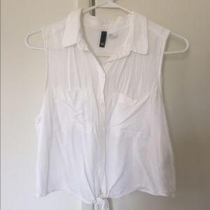 H&M Sleeveless Crop Tie Blouse